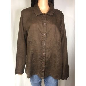 FLAX Brown Over-Sized Linen Button Top Size L